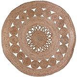 HOME DECO FACTORY TX9027 Tapis Rond Jute Ajoure, Textile, Beige, 90 x 90 x 0,5 cm