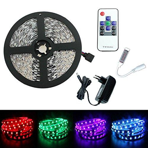 PMS Tira de Luz 5m RGB LED 5050 SMD 300 LEDs Strip + RF remoto controlador + DC 12V Adaptado EU