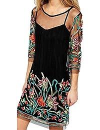 d8137fe66f04 LHWY Vestidos Vintage De Malla Mujer Vestidos De Bordado Bohemios Cuello  Redondo Vestidos Transparentes Fiesta Verano