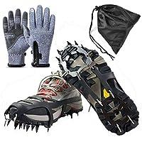 Agarres de Hielo para Zapatos y Botas, 14 Dientes, Acero Inoxidable, Dispositivos de tracción de Invierno para Escalada, Pesca, Caza, Correr, Caminar sobre Hielo y Nieve, Large