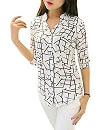 J B Fashion Women's Animal Print Regular fit (Shirt White Large)