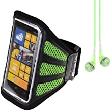 SumacLife Running Sports Gym Armband Case Cover for Nokia Lumia Series Smartphones Windows Phone / Samsung Galaxy S4 + VanGoddy Headset With MIC (Green Mesh) by SumacLife