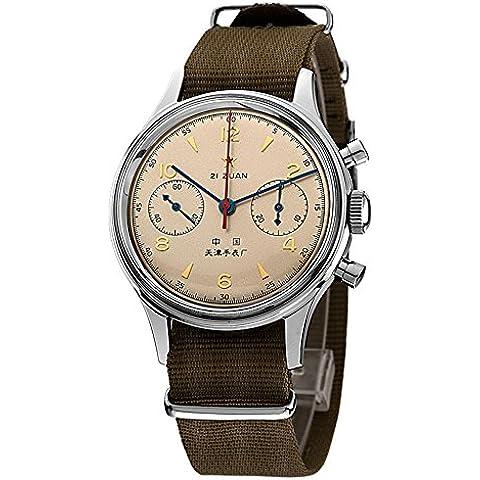sea-gull Gabbiano 1963 a mano Vento cronografo meccanico con Sapphire Crystal - Pelle Tourbillon Cronografo