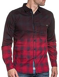 BLZ jeans - Chemise homme fashion rouge à carreaux et poche