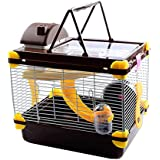 JAINSONS PET PRODUCTS Luxury Hamster Playhouse Cage with Spare Floor; Exercise Wheel; Water Bottle; Hide House and Food Tray for Gerbil Mice (Brown)