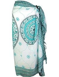 GURU-SHOP, Bali Sarong, Colgante de Pared, Falda Envolvente, Vestido de Sarong Mandala, Verde, Sintético, Tamaño:One Size, Sarongs,…