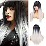 Ani·Lnc New Fashion Black Silver 65cm Long Straight Synthetic Ombre Hair Wigs With Bangs