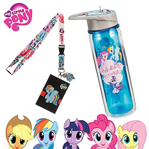 MLP My Little Pony stabiler Wasserflasche mit Stroh und Schlüsselband–Ideal für Camping Sport Geburtstag Party Schule Rucksäcke–Rainbow Dash Twilight Sparkle Pinkie Pie DJ PON 3 (Minecraft Figur Kostüme)