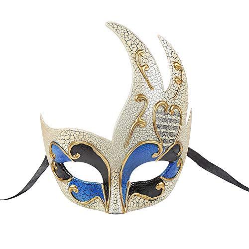 BLEVET Vintage Venezia Halloween Masquerade Costume Mardi Gras Maschili novità Maschera a Faccia Intera di Carnevale MZ061 (Blue)