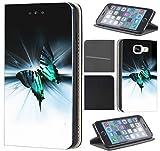 Samsung Galaxy S5 / S5 Neo Hülle von CoverHeld Premium Flipcover Schutzhülle Flip Case Motiv (1130 Schmetterling Schwarz Türkis Weiß)
