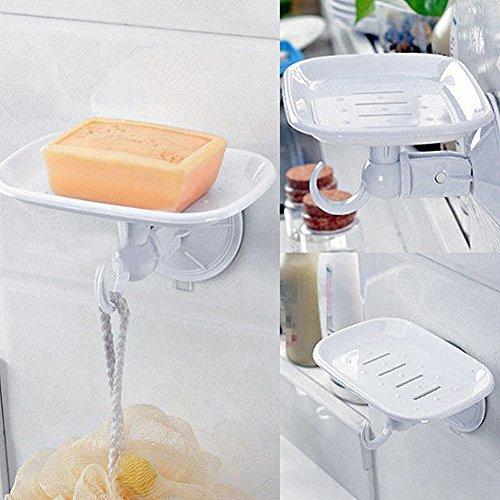 (Gmgqsago Seifenablage mit Saugnapf, Kunststoff, für Badezimmer, Küche, Wandmontage, Weiß)