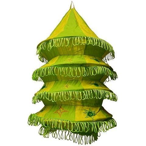 Pantalla lámpara Acordeón 50 cm verde-amarillo algodón patchwork India para colgar iluminación de interior decoración