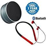 Drumstone Super Slim MS-770 Bluetooth Neckband Sports Stereo Headphone With Mic & Metal BON03 Portable Wireless Sport Bluetooth (V4.0) Outdoor Speaker Compatible With Xiaomi, Lenovo, Apple, Samsung, Sony, Oppo, Gionee, Vivo Smartphones (One Year Warra