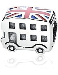 Autobús de Londres esmalte 925plata de ley Bead compatible con Pandora Pulsera