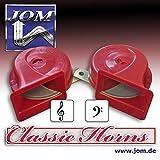 JOM 127026 Fanfare, Signalhorn, Hupe, 12V 110 ± 5 dB, 9 cm, Dual Klang, Hochtöner und Tieftöner, rot mit Prüfzeichen!