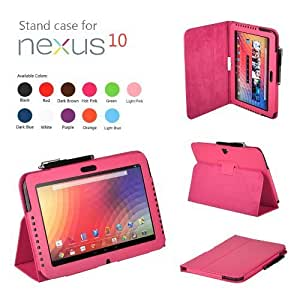 CaseGuru Premium Luxury Multi Function Standby Case/Cover/Folio for the Google Nexus 10.1 Inch Tablet and Stylus Pen (Hot Pink)