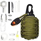 Riao-Tech 15er Set Survival-Kit Fishing Bag inkl. Paracord, Messer, Karabinerhaken (Armeegrün)