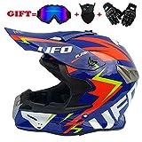 Yedina Adult Motocross Helmet MX Motorcycle Allradanfahrzeug ATV Scooter voll Helm Helm zertifizierte Brillanten-Handschuhe Maske (S, M, L, XL),M