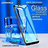 JGDWORLD Full Edge to Edge Black 5D Tempered Glass for Samsung Galaxy A8+/ A8 Plus (2018) with Free Installation Wipes