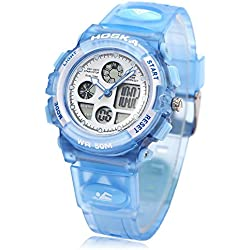 Leopard Shop HOSKA H003S Multifunctional Digital Wristwatch Quartz Children Sport Watch Chronograph Calendar Alarm EL Backlight Water Resistance Blue