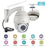 Sricam Camaras de Vigilancia Wifi Exterior HD 960P PTZ 5x Zoom CMOS Detección de Movimiento IR-CUT Visión Nocturna IP66 Impermeable ONVIF Camara Seguridad Compatible con iOS y Android (Blanco)