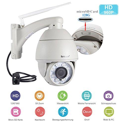 Caméra de surveillance Wi-Fi intérieure, sricam sp008960P professionnel HD PTZ Zoom 5x 2.8–12mm objectif IR Vision Nocturne 40m Détecteur de mouvement IP66étanche P2P CCTV caméra IP Wifi, blanc