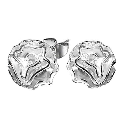 Kangqifen Schmuck Damen Ohrstecker,2 PCS 925 Silber Plattiert Rose Ohrringe Ohrschmuck,Breite 1,3 cm - Länge 1,3 (Cc Chanel Ohrringe Modeschmuck)