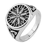 Wicca nórdico vikingo timón de Awe Aegishjalmur Punk talismán runas anillo para los hombres