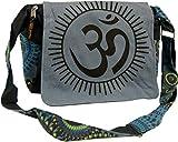 Guru-Shop Schultertasche, Hippie Tasche, Goa Tasche Om - Grau, Herren/Damen, Baumwolle, Size:One Size, 23x28x12 cm, Alternative Umhängetasche, Handtasche aus Stoff