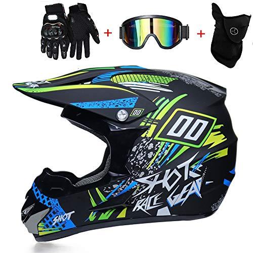 TKGH Casco Motocross, TK-07 off-Road Casco Unisex Caschi Moto Cross Adulto Casco Motocross Casco Offroad Enduro Sport con Guanti, mascherare, Occhiali Casco S, M, L, XL,XL