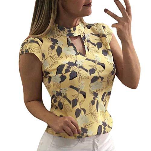 Floral Print Tee (Damen Bluse Onlmesa Rovinci Blumen Druck Choker Top Casual Sommer Kurzarm T-Shirt V-Ausschnitt Tops Floral Tunika Oberteile Hemd Streetwear Tee Shirt)