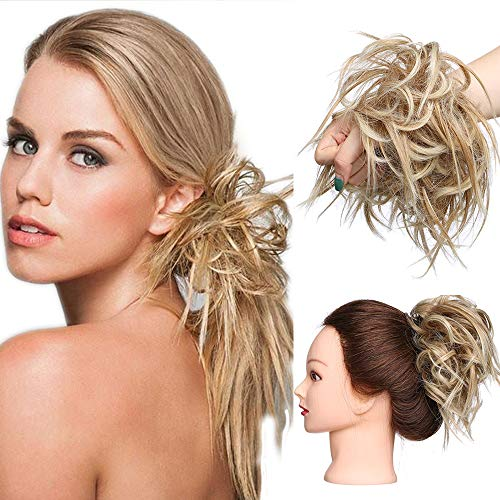 Extension Chignon Elastico Spettinato con Capelli Ricci Finti XXL Hair Magic Bun 45g Messy Curly Coda di Cavallo Treccia Carina Castano Caffe mix