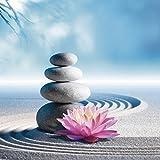 Artland Qualitätsbilder I Glasbilder Deko Glas Bilder 30 x 30 cm Wellness Zen Stein Foto Blau C3ZV Sand Lilie und Spa-Steine in Zen-Garten