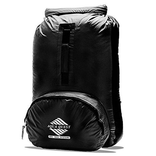 Aqua Quest HIMAL Schwarz packbar Rucksack 20L wasserdichte Tasche für Kajak, Angeln, Paddeln, Bootfahren
