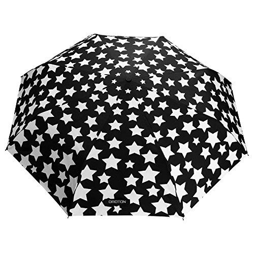 Paraguas Plegable-con 8 Varillas,OMOTON Paraguas Automático de Viaje de Color Negro, Decoloración de Paraguas,Un Paraguas Mágico