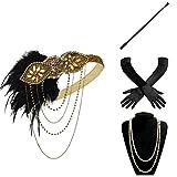 BABEYOND 1920s Flapper Set Damen Gatsby Kostüm Accessoires Set Inklusive Stirnband Halskette Handschuhe Zigarettenhalter (Set-22)