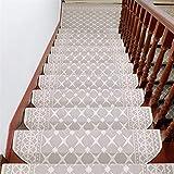 Liveinu Moderner Stil Selbstklebend Stufenmatten Treppen Teppich Halbrund Waschbar Starke Befestigung Anthrazit Treppen-Matten 24x80cm (1 Stück) Beige
