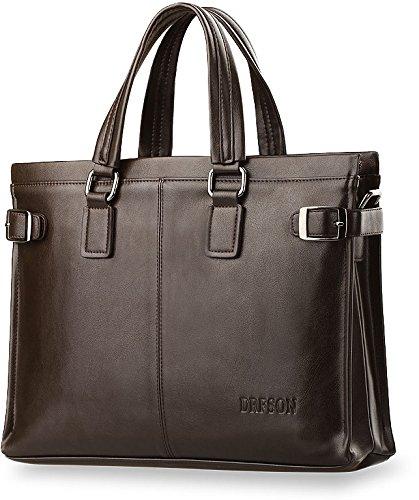 Elegante solide Aktentasche für Unterlagen Qualität-Kunstleder A4 mit Schulterriemen (Braun) Braun