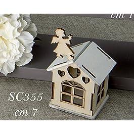 6 PEZZI Casa Casetta Legno portaconfetti con angelo bomboniera comunione