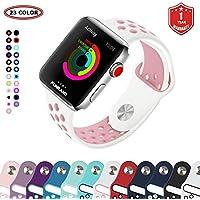 Bracelet Apple Watch,FunBand® 38mm Apple Watch en Sport de Doux Silicone Souple Strap Wrist Band Replacement avec des Trous Respirants pour Nike + Style Apple Watch Serie 3,Serie 2,Serie 1 (Blanc-Rose)