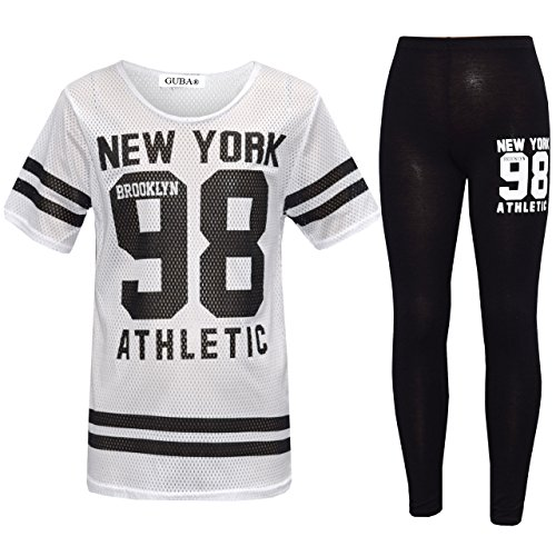 Girl's New York 98 NET TOP & Legging Set Kid's 2 Pieces Fashion Outfits Age 7-13 Years (11-12 Years, White)