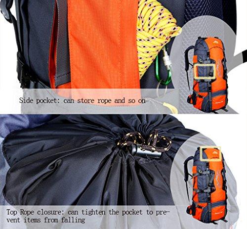 NEWZCERS 80L Borsa Sportiva Durevole Impermeabile Borsa a Spalla Trekking Camping Escursionismo Zaino di Viaggio Zaino da Montagna Confezione da Arrampicata per gli Uomini orange