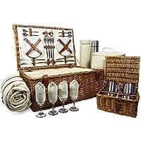 Fine Food Store Sandringham - Cesta de Pícnic para 4 Personas, Mimbre, Incluye Accesorios