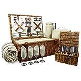 Fine Food Store Sandringham Luxus Picknick-Korb aus Rattan für 4Personen Lieferung mit der Zubehör Hochzeit/Weihnachten für Damen