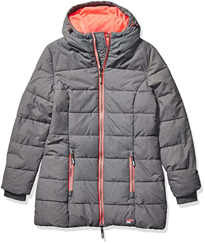 Superdry Damen Tall Sports Puffer Daunenmantel, Night Grey Marl/Fluro Flamingo, 44 Classic Nylon Mantel