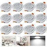 Hengda® 12 pcs 5W Led Einbauleuchten set Kaltweiß Beleuchtung Einbauleuchte für den Wohnbereich auch für das Bad geeignet IP44