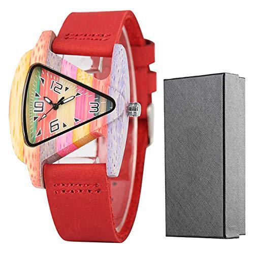 Holzuhr, leichte dreieckige Hollow Holzuhr, Kreative Lederuhr, Bambus Armbanduhr Armband