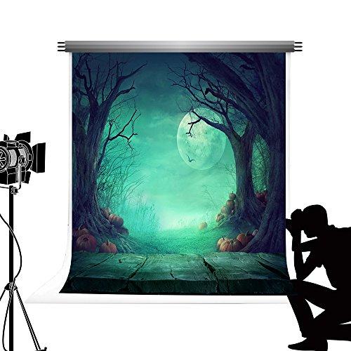 Kate Hallween Kulisse für Fotografie Green Moon Night Photocall Bakcground für Kinder Halloween Party Studio Fotos 6.5x10ft / 2x3m
