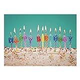 Große XXL Glückwunschkarte A4 (Happy Birthday Kerzen auf Kuchen) mit Umschlag - Edle Design Geburtstagskarte zum Geburtstag