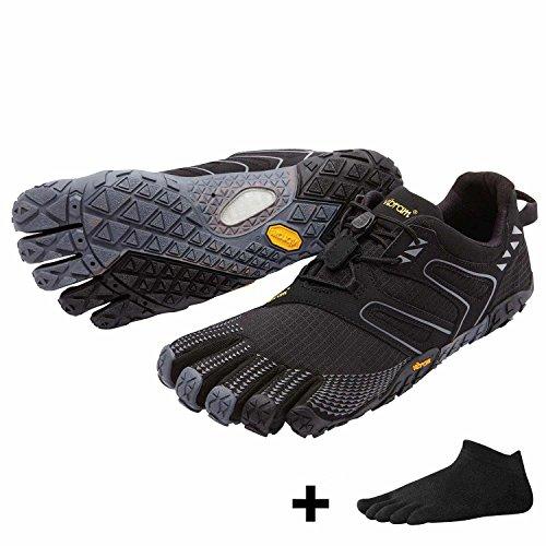 Vibram FiveFingers V-Trail Chaussures à orteils pour homme - Lot - Chaussures pour le trail et la course, chaussettes à orteils gratuites Noir/gris